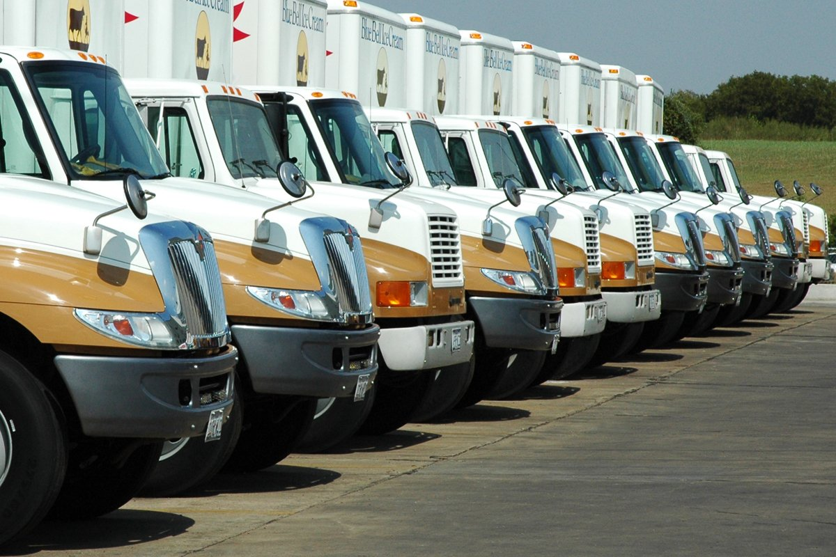 A row of BlueBell trucks equipped with Allison transmissions