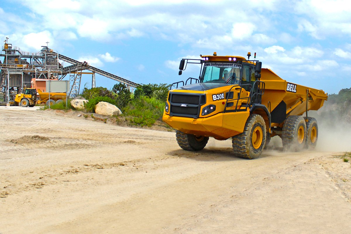 Dump truck equipped with an Allison transmission at a mining site in South America.