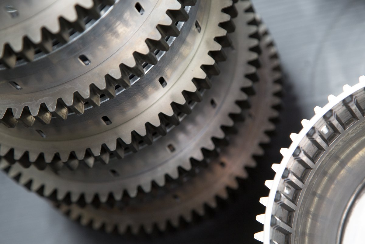 Gears stacked on table